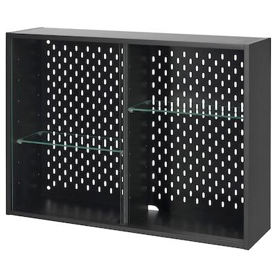 UPPSPEL Glass-door cabinet, dark grey, 76x56 cm