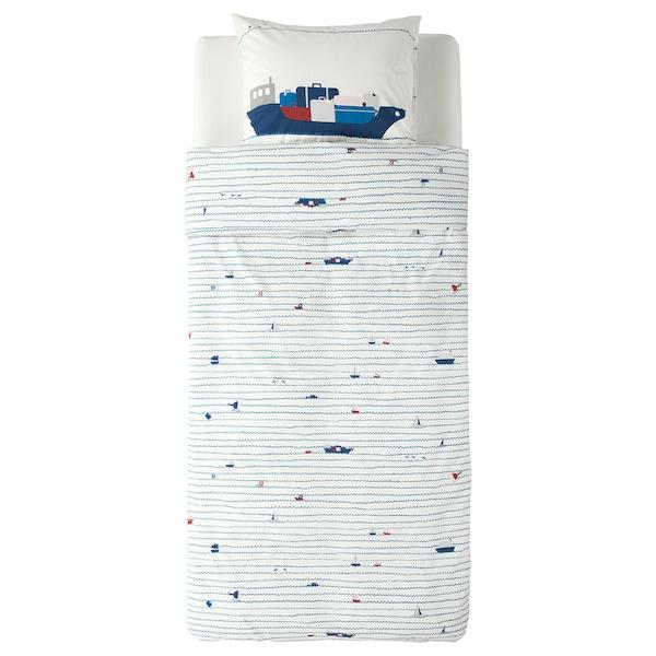 UPPTÅG Duvet cover and pillowcase, waves/boats pattern/blue, 150x200/50x60 cm