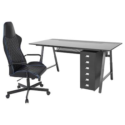 UTESPELARE / HELMER Desk, chair and drawer unit, black