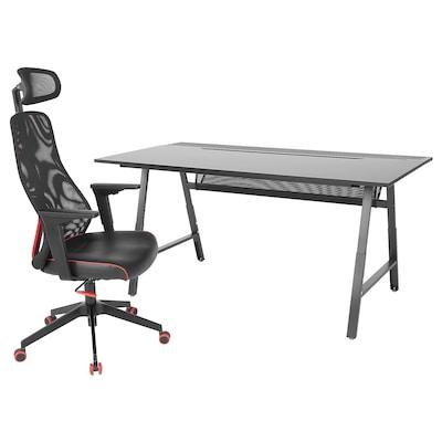 UTESPELARE / MATCHSPEL Gaming desk and chair, black