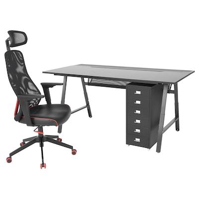 UTESPELARE / MATCHSPEL Gaming desk, chair and drawer unit, black