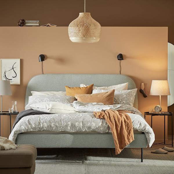 VADHEIM Upholstered bed frame, Gunnared light green, 180x200 cm