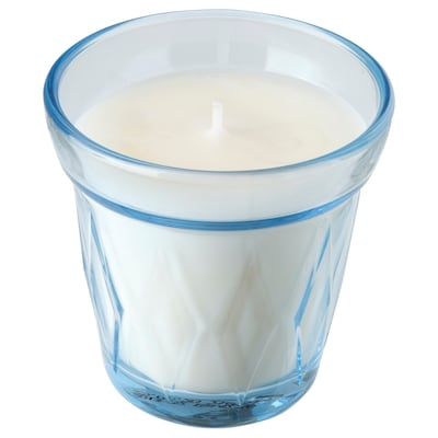 VÄLDOFT Scented candle in glass, Fresh laundry/light blue, 8 cm