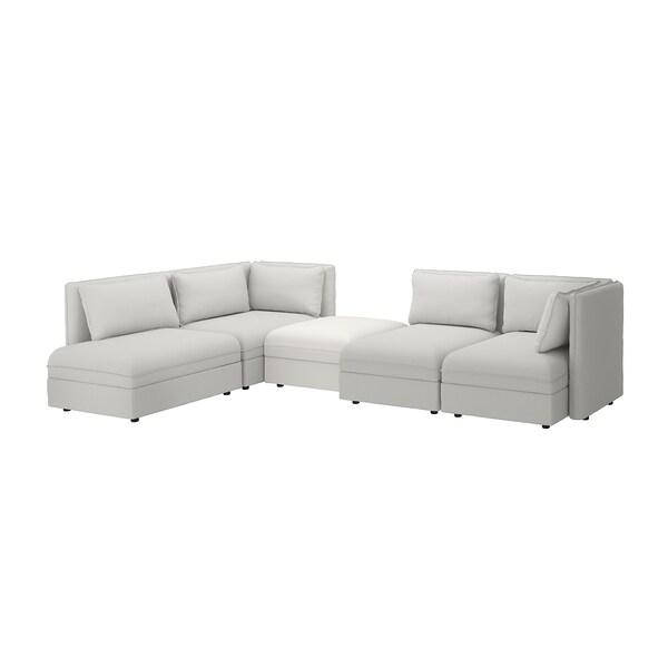 VALLENTUNA modular corner sofa, 4 seat with storage/Orrsta/Murum light grey/white 84 cm 93 cm 113 cm 346 cm 213 cm 80 cm 100 cm 45 cm