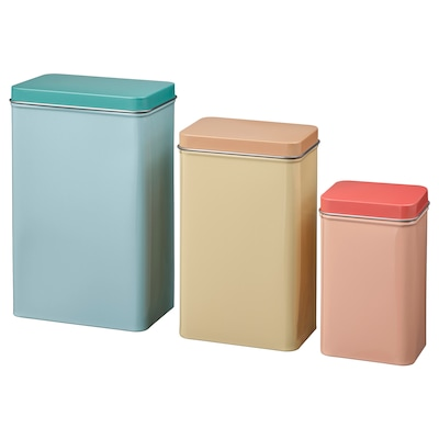 VÅRFINT Tin with lid, set of 3, beige blue/pink