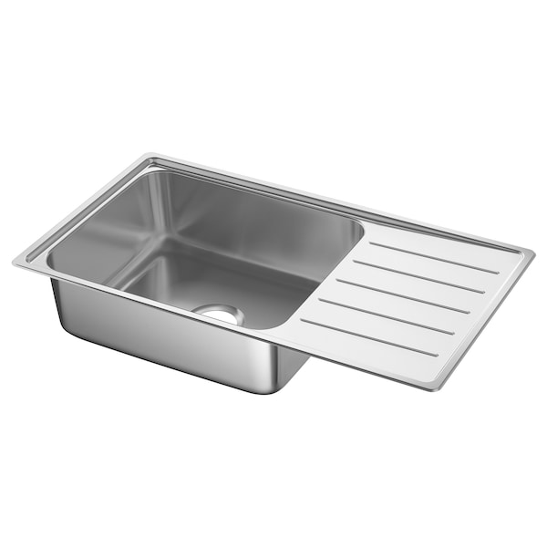 VATTUDALEN Inset sink, 1 bowl with drainboard, stainless steel, 86x47 cm