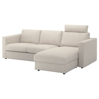 VIMLE 3-seat sofa with chaise longue, with headrest/Gunnared beige
