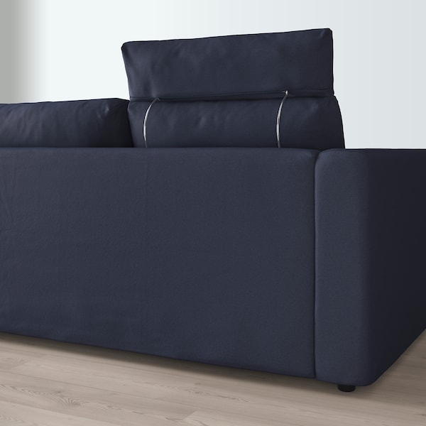 VIMLE 3-seat sofa with chaise longue with headrest/Orrsta black-blue 103 cm 83 cm 68 cm 164 cm 252 cm 98 cm 125 cm 6 cm 15 cm 68 cm 222 cm 55 cm 48 cm