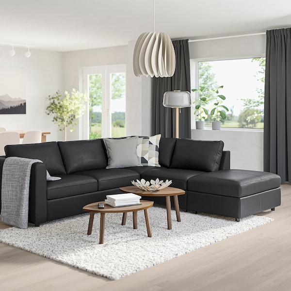 VIMLE Corner sofa, 4-seat, with open end/Grann/Bomstad black