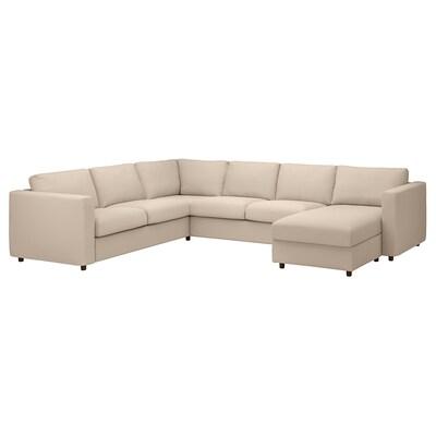 VIMLE Corner sofa, 5-seat, with chaise longue/Hallarp beige