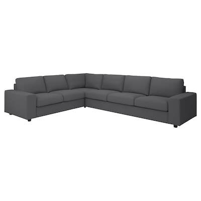 VIMLE Corner sofa, 5-seat, with wide armrests/Hallarp grey