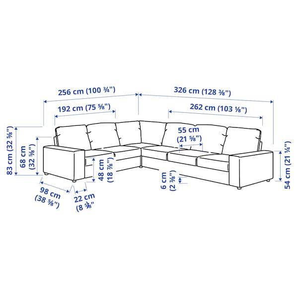 VIMLE Corner sofa, 5-seat, with wide armrests/Saxemara light blue