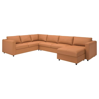 VIMLE Corner sofa-bed, 5-seat, with chaise longue/Grann/Bomstad golden-brown