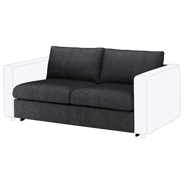VIMLE Cover for 2-seat sofa-bed section, Tallmyra black/grey