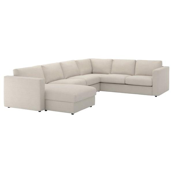 VIMLE Cvr crnr sofa, 5-seat w chaise lng, Gunnared beige