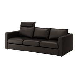 VIMLE 3-seat sofa, with headrest, Farsta black