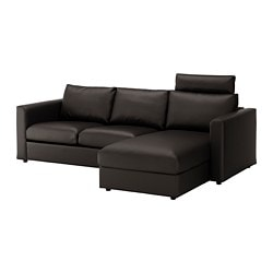 VIMLE 3-seat sofa, with chaise longue with headrest, Farsta black