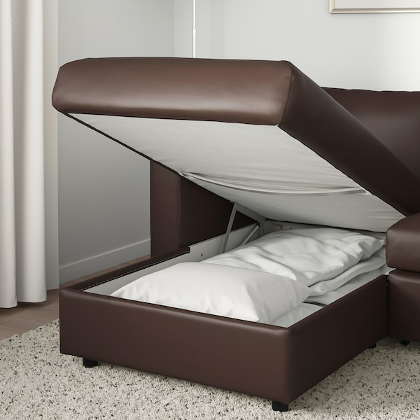 VIMLE 3-seat sofa-bed with chaise longue/Farsta dark brown 53 cm 83 cm 68 cm 271 cm 98 cm 241 cm 125 cm 241 cm 55 cm 48 cm 140 cm 200 cm 12 cm