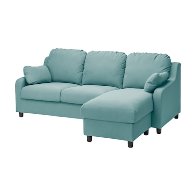 VINLIDEN 3-seat sofa with chaise longue, Hakebo light turquoise