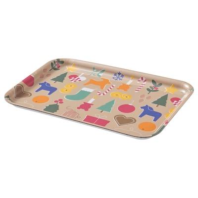 VINTER 2021 Tray, Christmas pattern multicolour, 20x28 cm