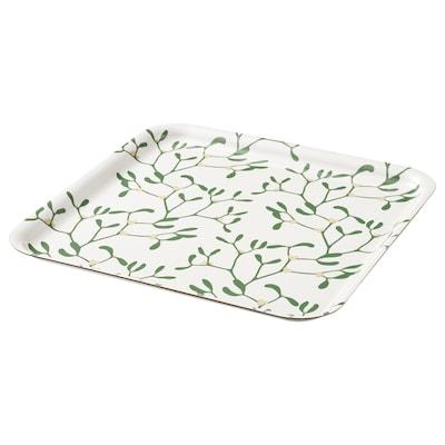 VINTER 2021 Tray, mistletoe pattern white/green, 33x33 cm