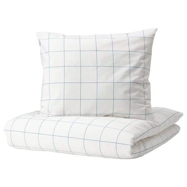 VITKLÖVER Duvet cover and 2 pillowcases, white blue/check, 240x220/50x60 cm