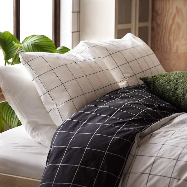 VITKLÖVER Duvet cover and pillowcase, white black/check, 150x200/50x60 cm