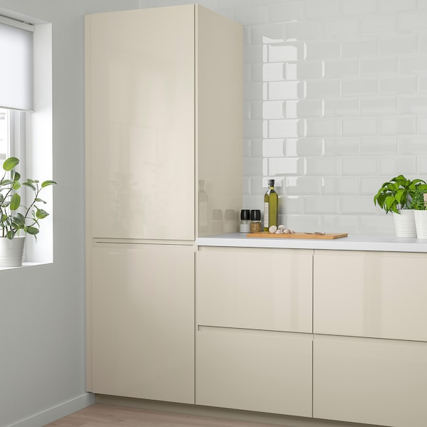 VOXTORP Door, high-gloss light beige, 60x120 cm