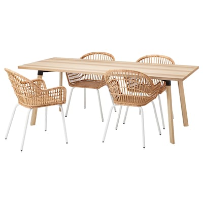 YPPERLIG / NILSOVE Table and 4 chairs, ash/rattan white, 200x90 cm