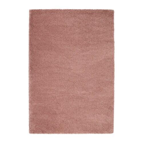 Dum tapis poils hauts brun clair rose 133x195 cm ikea Tapis rose clair