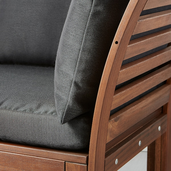 ÄPPLARÖ Canapé 2 places modulable extérieur, teinté brun/Hållö noir, 160x80x78 cm