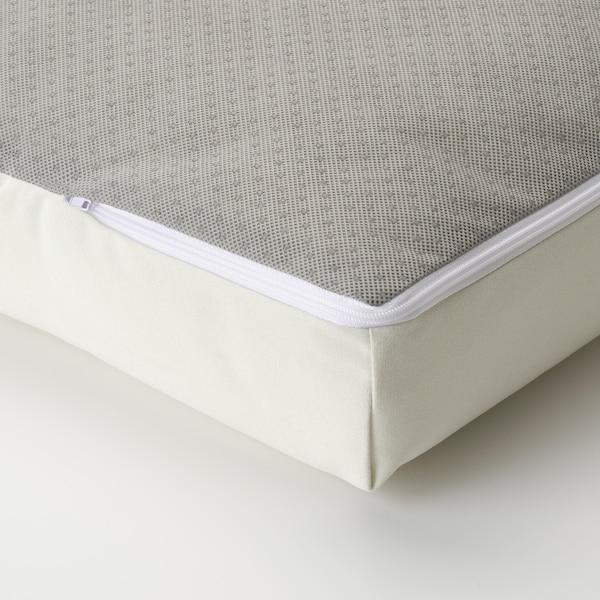 ÄPPLARÖ Canapé 3 places modulable extérieur, avec repose-pied teinté brun/Kuddarna beige, 143/223x80x80 cm