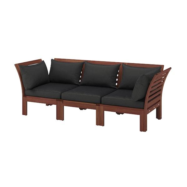 ÄPPLARÖ Canapé 3 places modulable extérieur, teinté brun/Hållö noir, 223x80x78 cm