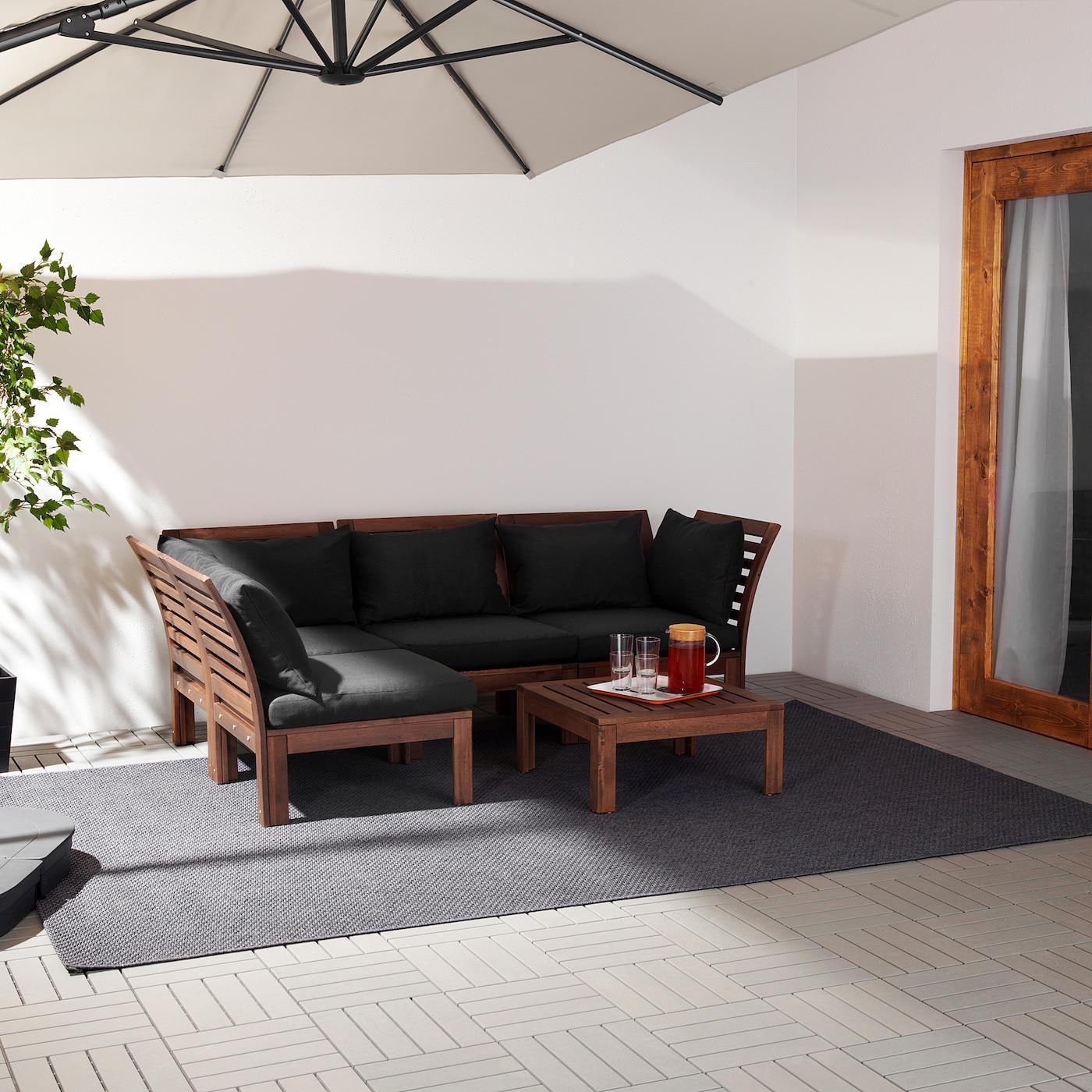 ÄPPLARÖ Canapé d'angle mod 3pl, ext, teinté brun/Hållö noir, 143/223x80x78 cm