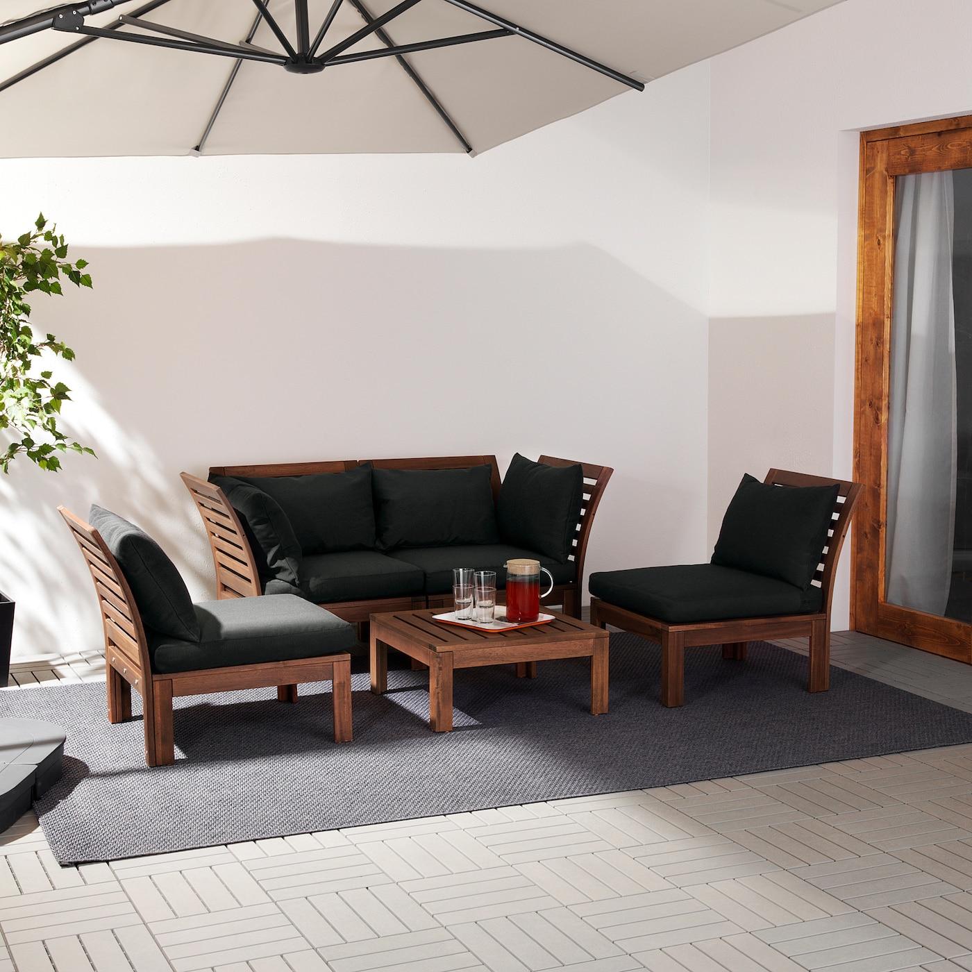 ÄPPLARÖ Ensemble 4 places, extérieur, teinté brun/Hållö noir