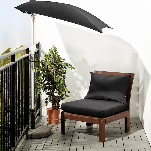 ÄPPLARÖ Fauteuil, extérieur, teinté brun/Hållö noir, 63x80x78 cm