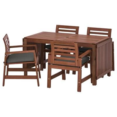 ÄPPLARÖ table+4 chaises accoud, extérieur teinté brun/Frösön/Duvholmen gris foncé