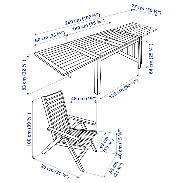 ÄPPLARÖ Table+8 chaises dossier réglable,ex, teinté brun