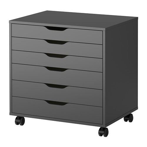 alex caisson tiroirs sur roulettes gris ikea. Black Bedroom Furniture Sets. Home Design Ideas