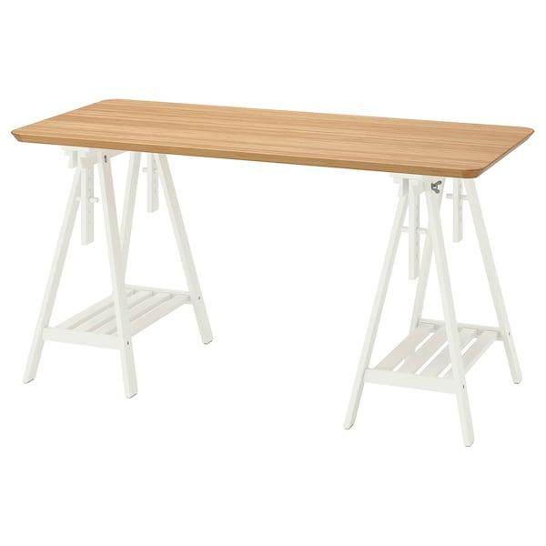 ANFALLARE / MITTBACK Bureau, bambou blanc, 140x65 cm