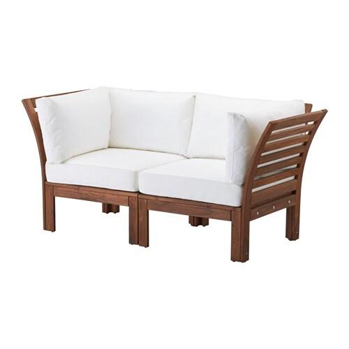 Pplar kungs canap 2 places ext rieur teint brun blanc ikea - Canape de jardin ikea ...