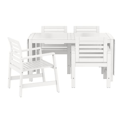Pplar table 4 chaises accoud ext rieur blanc ikea for Ikea meubles exterieur