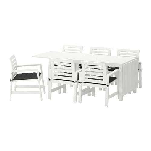 Pplar table 6 chaises accoud ext rieur pplar blanc h ll noir ikea - Ikea mobilier exterieur ...