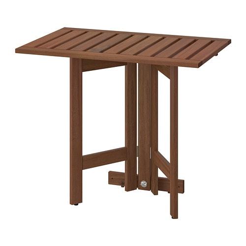 ÄPPLARÖ - Table murale pliante, extérieur, teinté brun