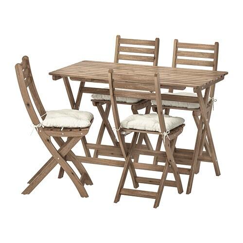 23a5bc409d7510 ASKHOLMEN Table+4 chaises pliantes, extérieur - Askholmen teinté ...