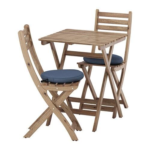 af7fab5210a254 ASKHOLMEN Table 2 chaises pliantes, extérieur - Askholmen teinté ...