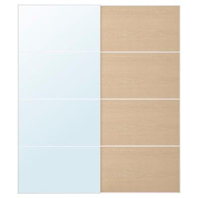 AULI / MEHAMN Jeu 2 ptes coul, miroir/effet chêne blanchi, 200x236 cm