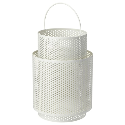 BEHÄRSKA Lanterne pour bougie bloc, blanc, 26 cm