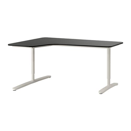bekant bureau d 39 angle gch brun noir blanc ikea. Black Bedroom Furniture Sets. Home Design Ideas