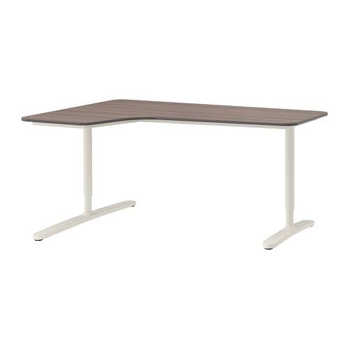bekant bureau d 39 angle gch gris blanc ikea. Black Bedroom Furniture Sets. Home Design Ideas